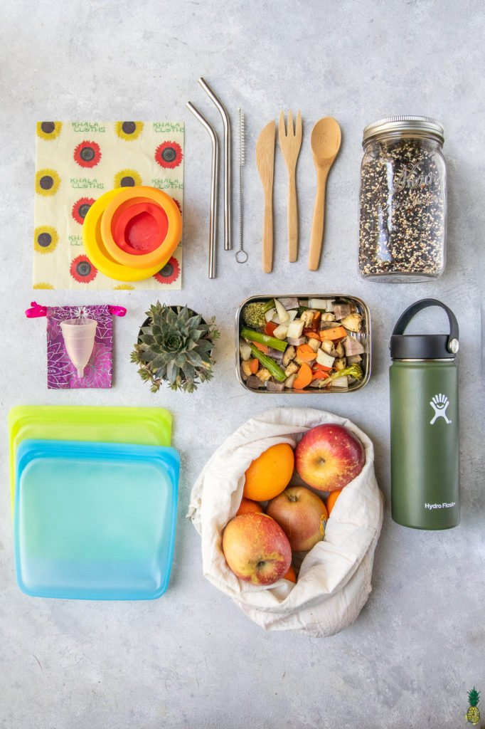 overhead photo of reusable containers and wraps