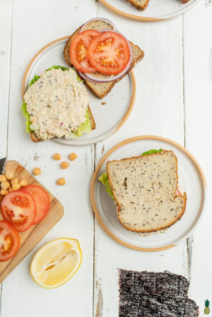 Vegan tuna salad sandwich being assembled. Sweet Simple vegan Blog