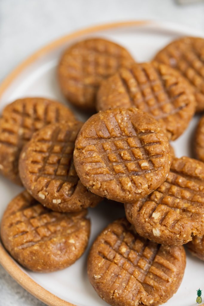 Close up shot of criss cross 3 ingredient Vegan Cookies by Sweet Simple Vegan
