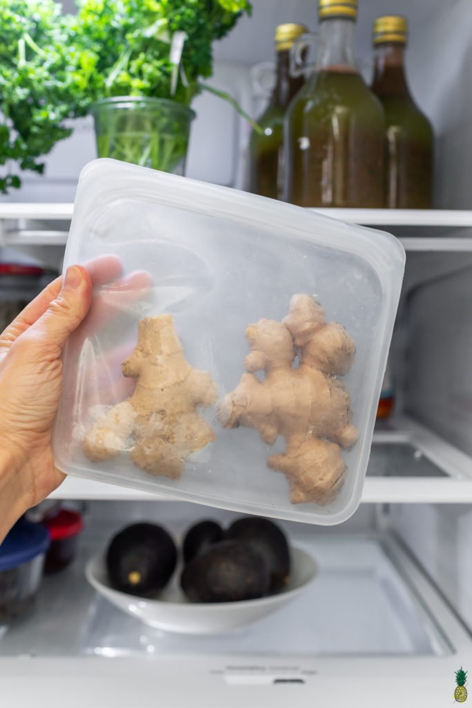 Ginger in a reusable bag in the refrigerator, sweet simple vegan