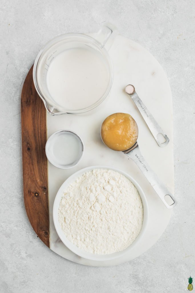 Ingredients for vegan crepes in bowls on a marble board, Sweet Simple Vegan Blog