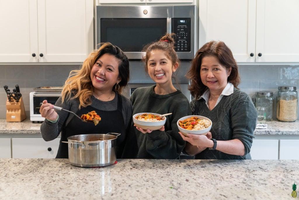 Jasmine Sweet Simple Vegan with vegan mom Irene and friend Kat Magsaysay
