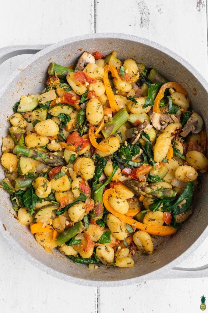 easy vegetable gnocchi dish by sweet simple vegan