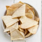 Homemade tortilla chips in a white bowl