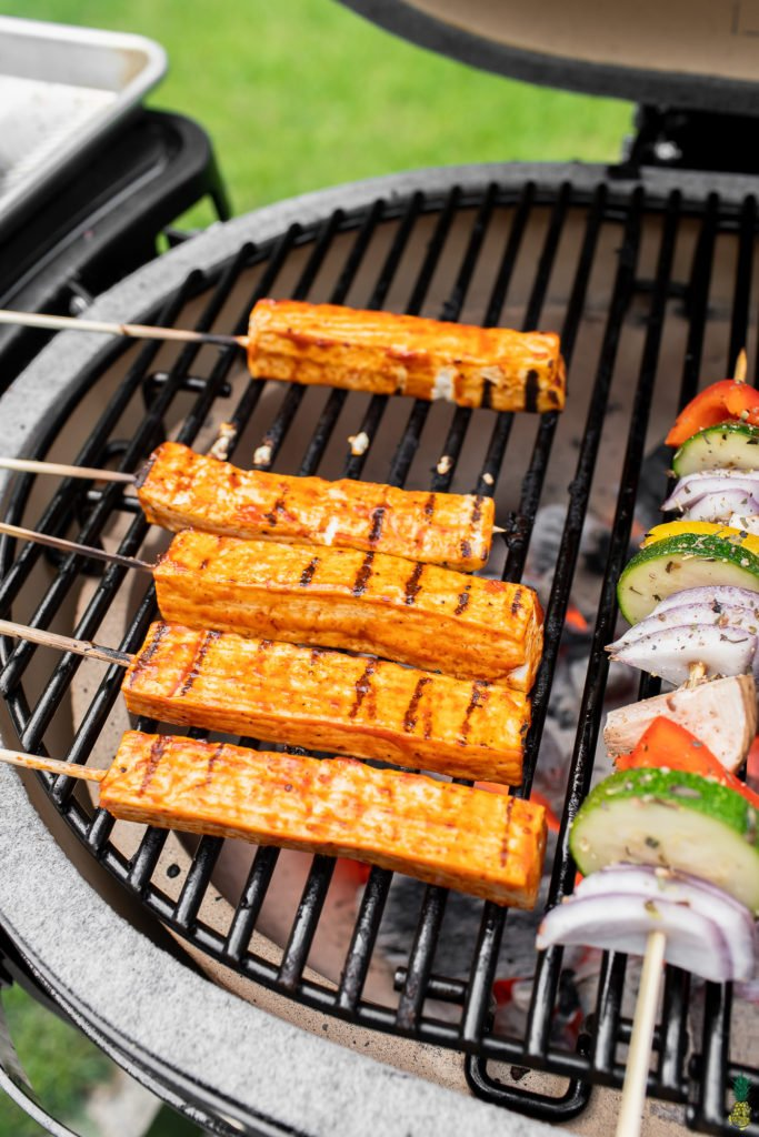 barbecue tofu skewers on grill