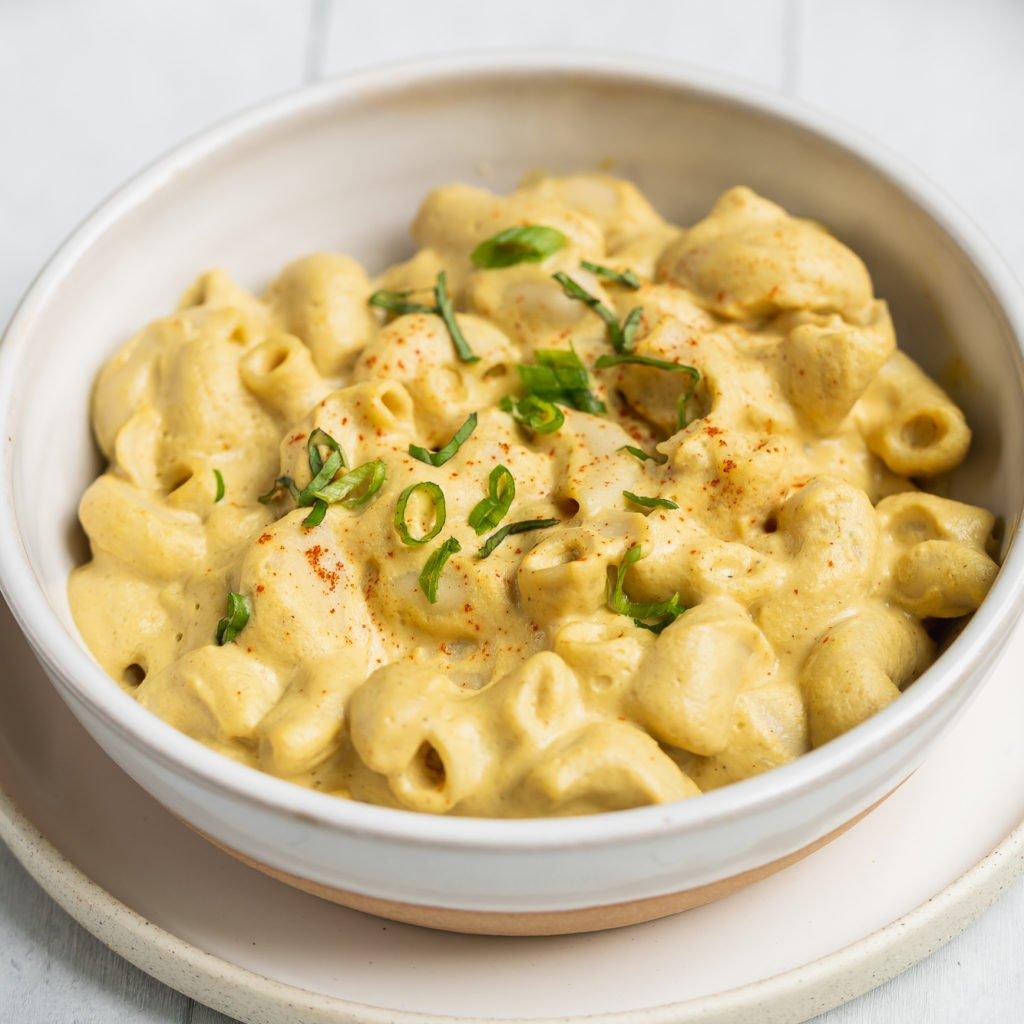 Close up shot of nut-free vegan mac and cheese by sweet simple vegan