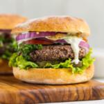 Close up shot of a 5 ingredient veggie burger by sweet simple vegan