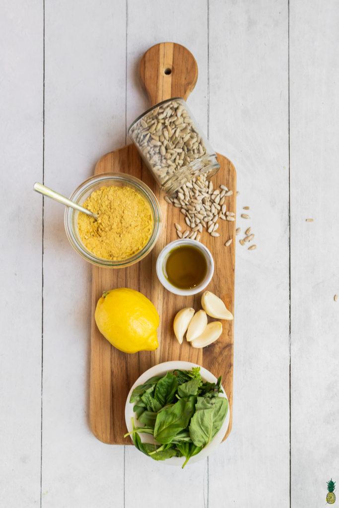 Ingredients to make an easy nut-free vegan pesto! By Sweet Simple Vegan