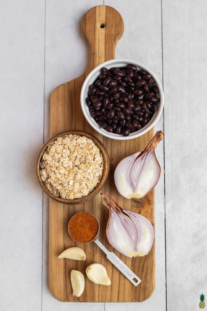 Ingredients for a 5 ingredient veggie burger by sweet simple vegan