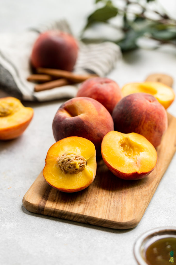 Close ip shot of peaches by sweet simple vegan