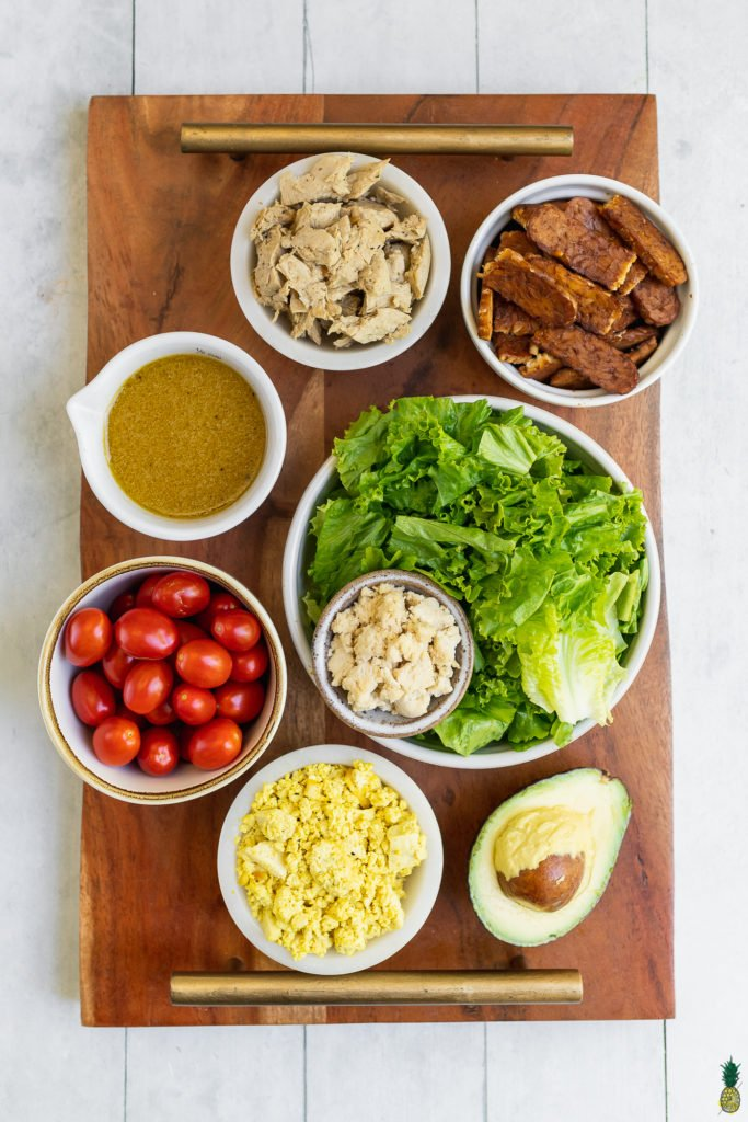 ingredients to make a vegan cobb salad at home by sweet simple vegan