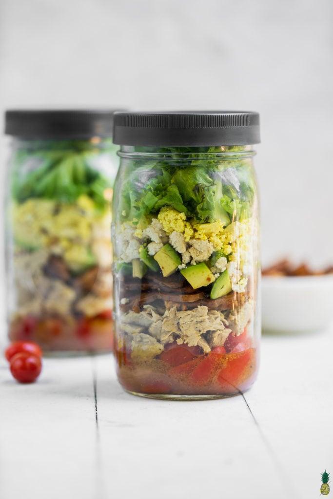 Vegan chicken cobb salad in a jar by sweet simple vegan
