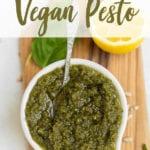Close up shot of a nut-free 6-ingredient vegan sunflower seed pesto! For pinterest by Sweet Simple Vegan