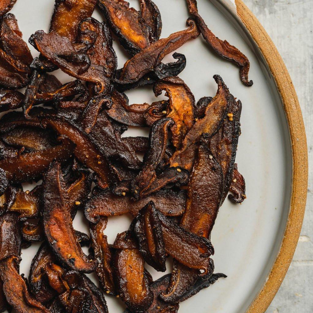 crispy baked vegan shiitake bacon by sweet simple vegan