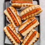 Grilled vegan carrot hot dogs in grilled buns by sweet simple vegan