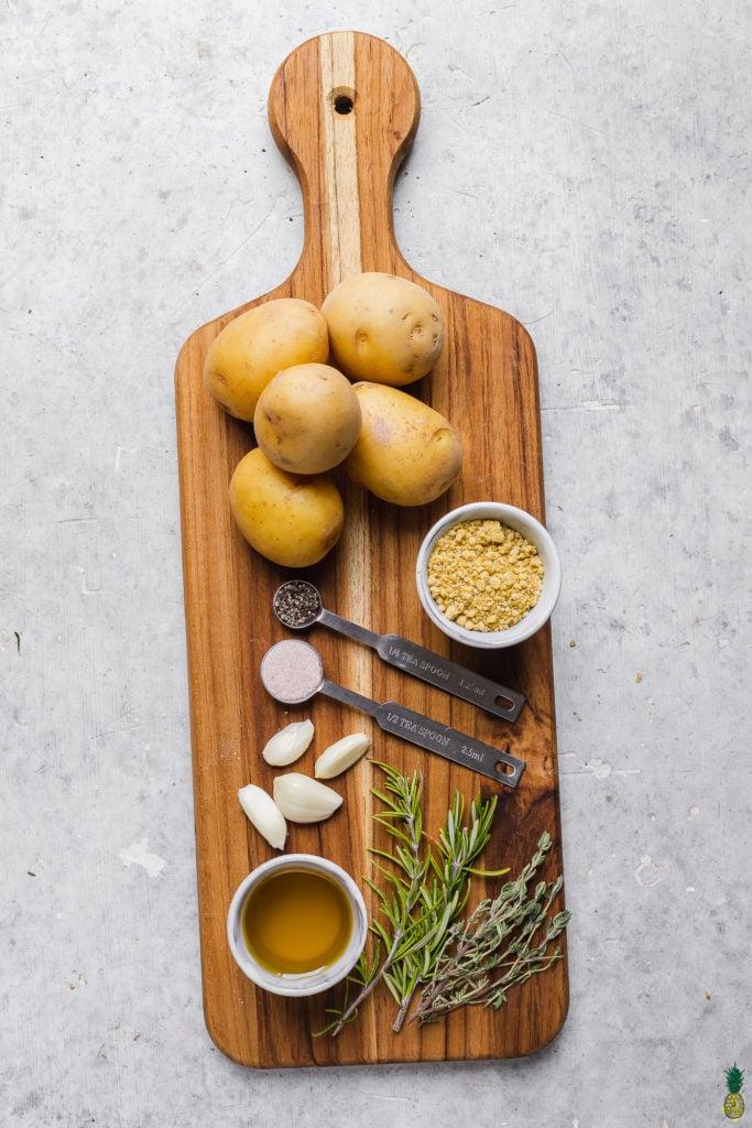 Ingredients to make Crispy Garlic and Herb Smashed Potatoes
