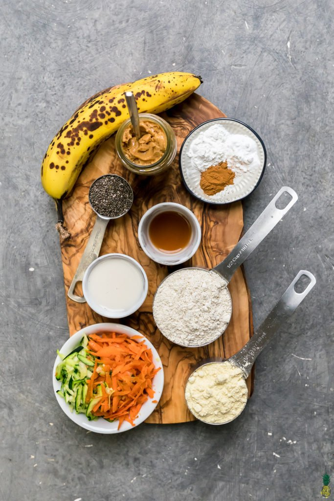 Ingredients for vegan and gluten free veggie loaded dog birthday cupcakes!