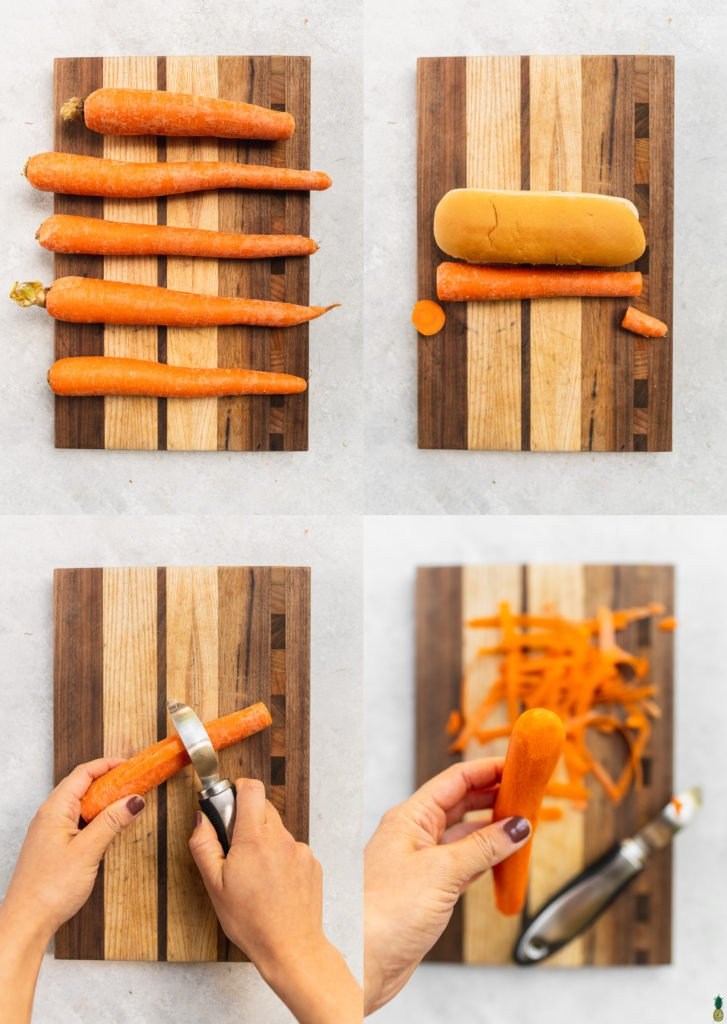 step by step photos of how to make perfect vegan carrot hot dogs by sweetsimplevegan