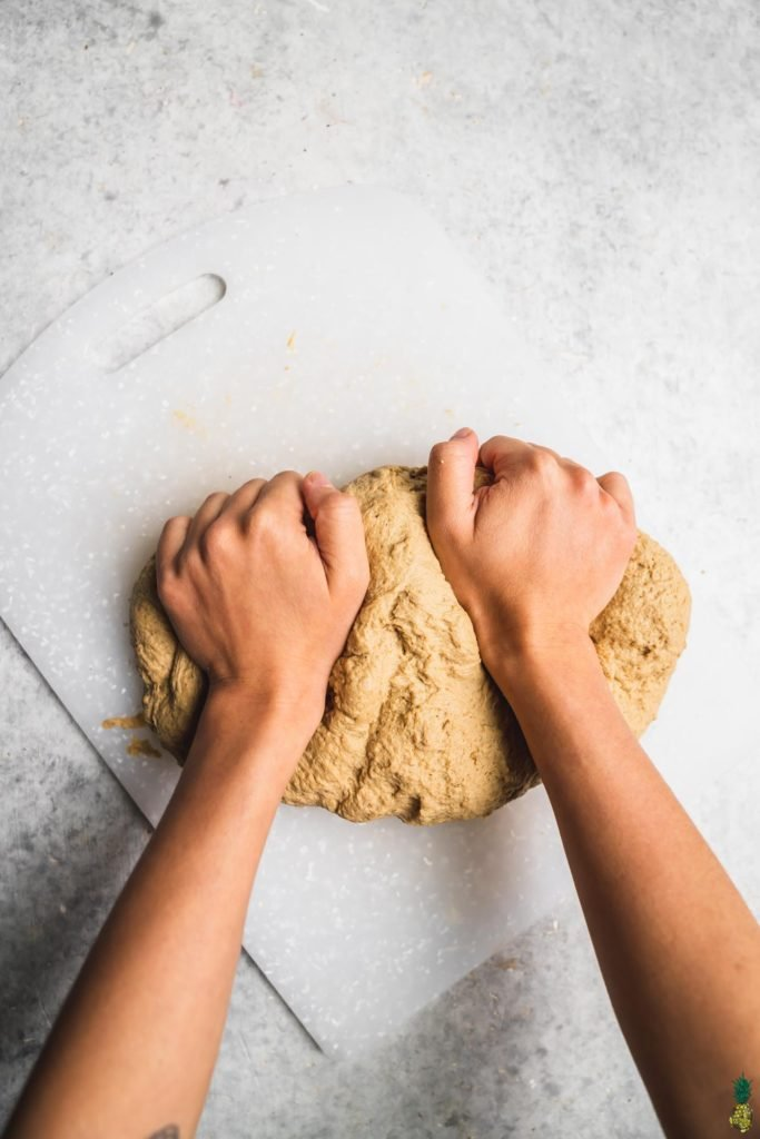 Kneading seitan; Learn how to make homeade vegan deli slices step by step by sweet simple vegan
