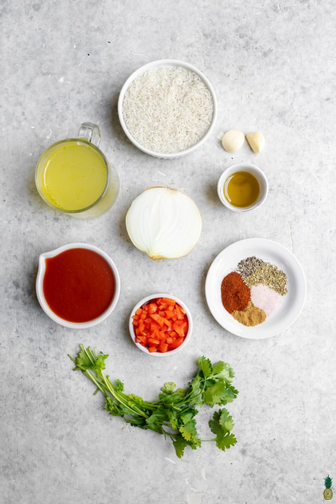 Ingredients for homemade restaurant-style spanish rice by sweet simple vegan!
