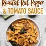 Gluten free pasta with roasted red pepper and tomato sauce in a ceramic bowl; food photograph by sweet simple vegan for pinterest