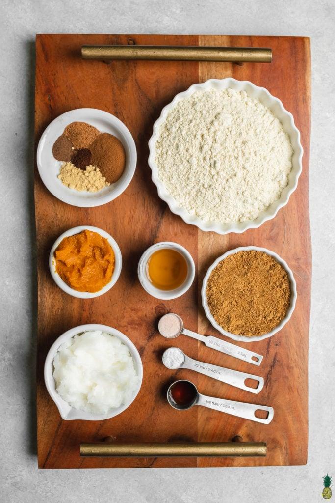 ingredients needed to make vegan gluten free pumpkin snickerdoodles