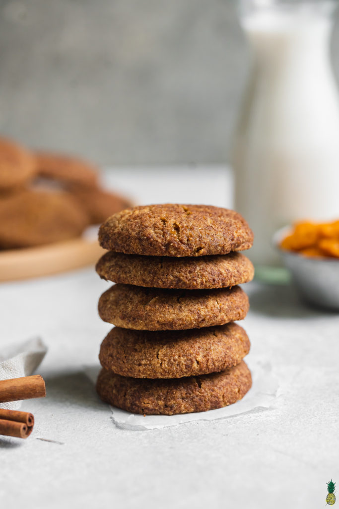 a stack of pumpkin snickerdoodles vegan gluten free
