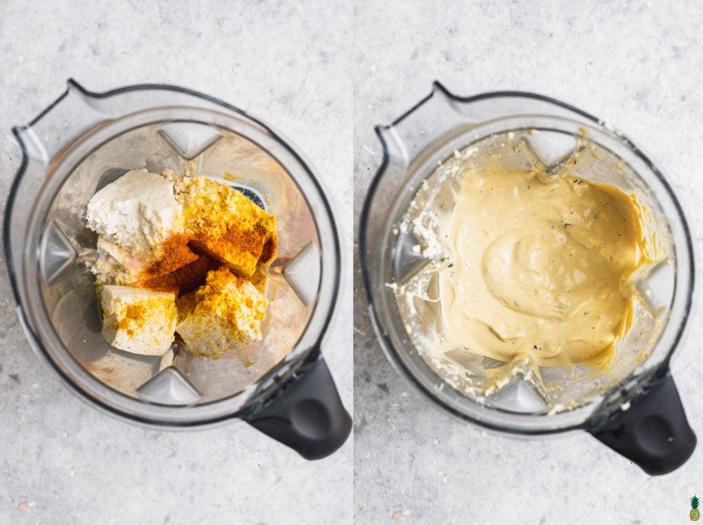 tofu egg batter overhead shot for a vegan sweet potato breakfast casserole in a white dish by sweet simple vegan