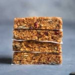 A stack of no bake peanut butter breakfast bars by sweet simple vegan