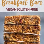 A stack of no bake peanut butter breakfast bars by sweet simple vegan for pinterest