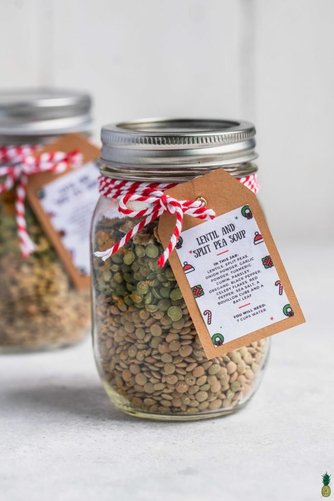 A jar of a lentil and split pea soup mix with a tag | DIY Christmas gift idea by sweet simple vegan