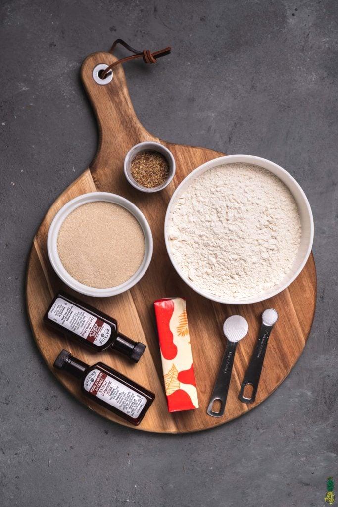 An overhead shot of the ingredients needed to make vegan christmas sugar cookies