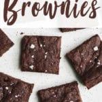 vegan brownies with maldon salt on a marble platter by sweet simple vegan for pinterest