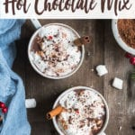 overhead photo of vegan hot chocolate on wooden background by sweet simple vegan for pinterest