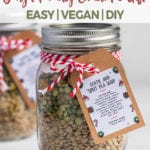 A jar of a lentil and split pea soup mix with a tag | DIY Christmas gift idea by sweet simple vegan for pinterest
