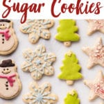 An overhead shot of colorful christmas cookies on a marble board; food photography Pinterest