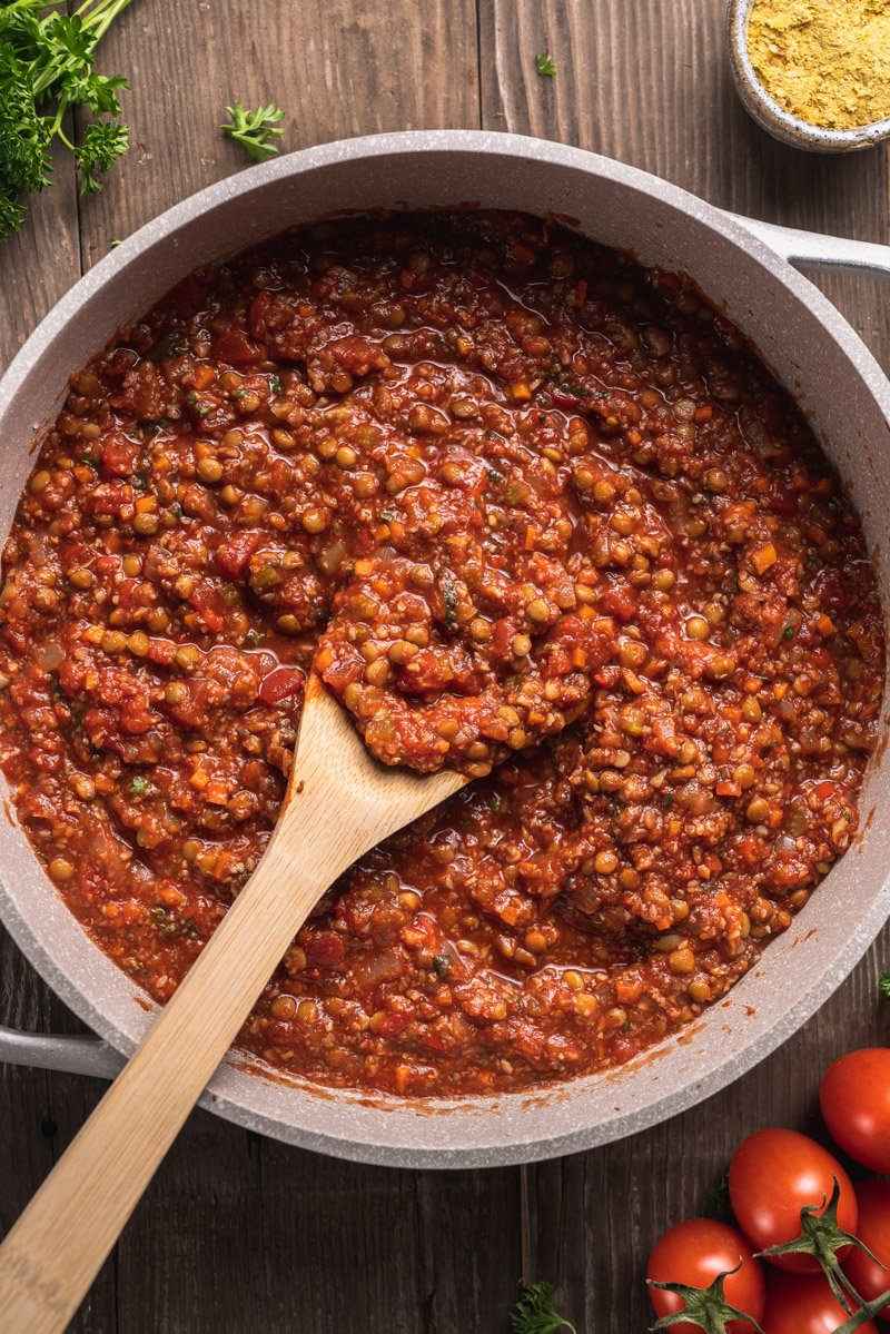 Close up of vegan bolognese​ Sauce in white pot
