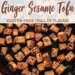 overhead ginger sesame tofu in cast iron skillet for pinterest