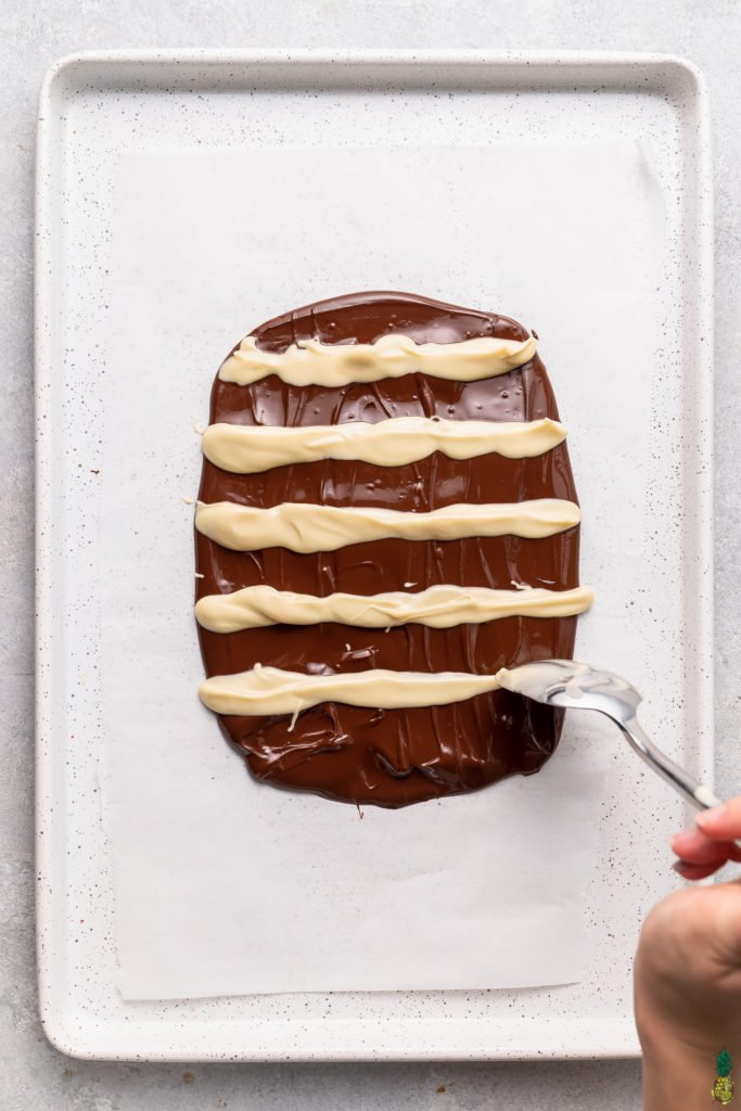 a step by step tutorial on how to make swirled chocolate bark