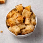 close up image of croutons in bowl
