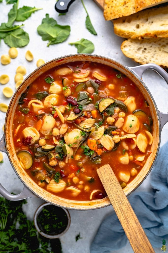 one-pot minestrone soup in large pot styled and taken from overhead