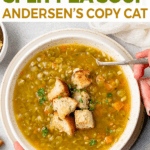 overhead image of split pea soup with croutons on top and on the side for pinterest