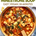 one-pot minestrone soup in large pot styled and taken from overhead for pinterest