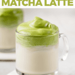 Vegan Dalgona Matcha Latte with ice and oat milk for pinterest