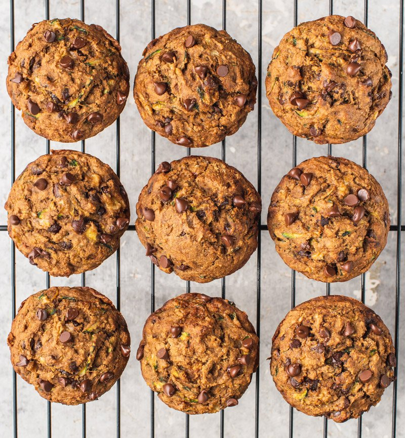 overhead image of chocolate chip zucchini muffins on cooling rack