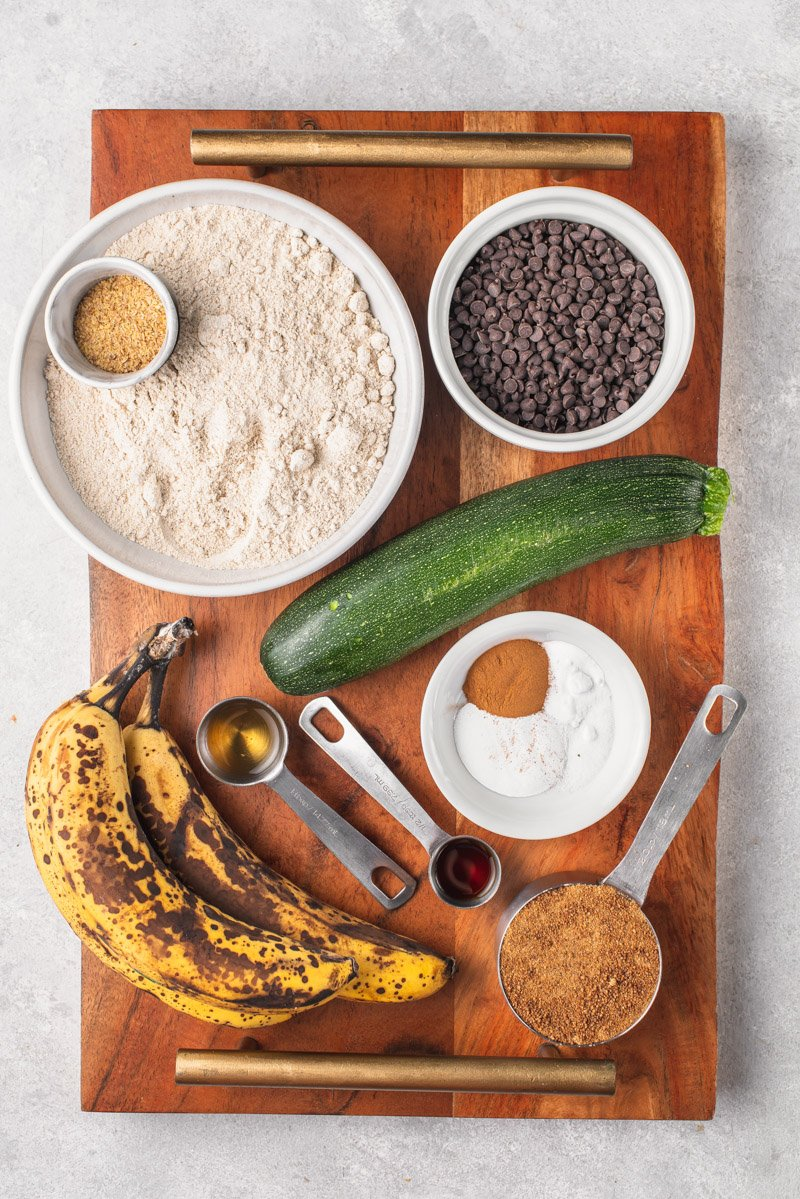 overhead image of muffin ingredients on wooden board
