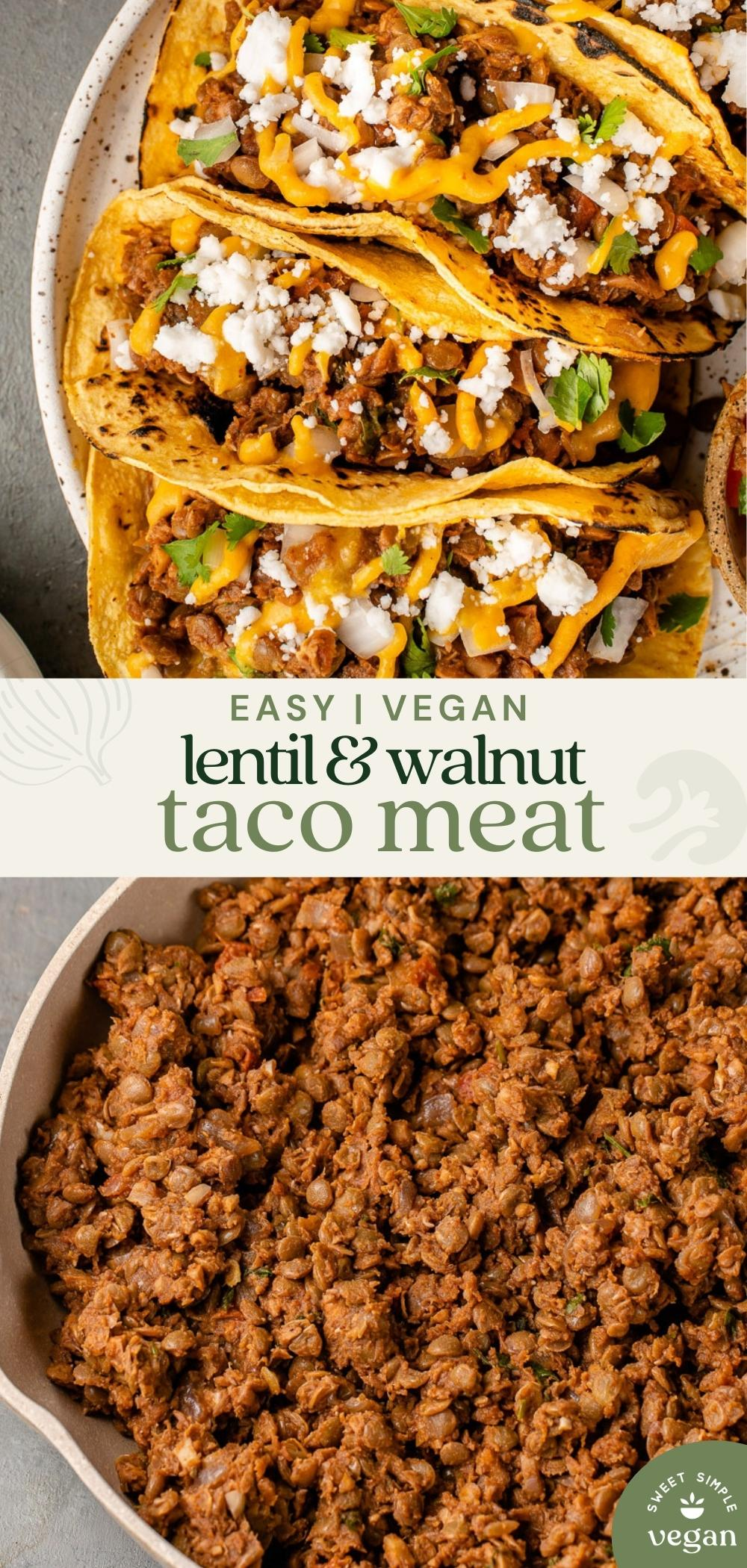 pinterest image with unclose over head image of taco meat and plated tacos