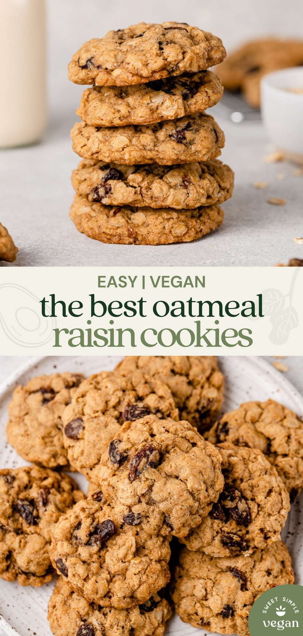 vegan oatmeal raisin cookies on a white plate by sweet simple vegan for Pinterest