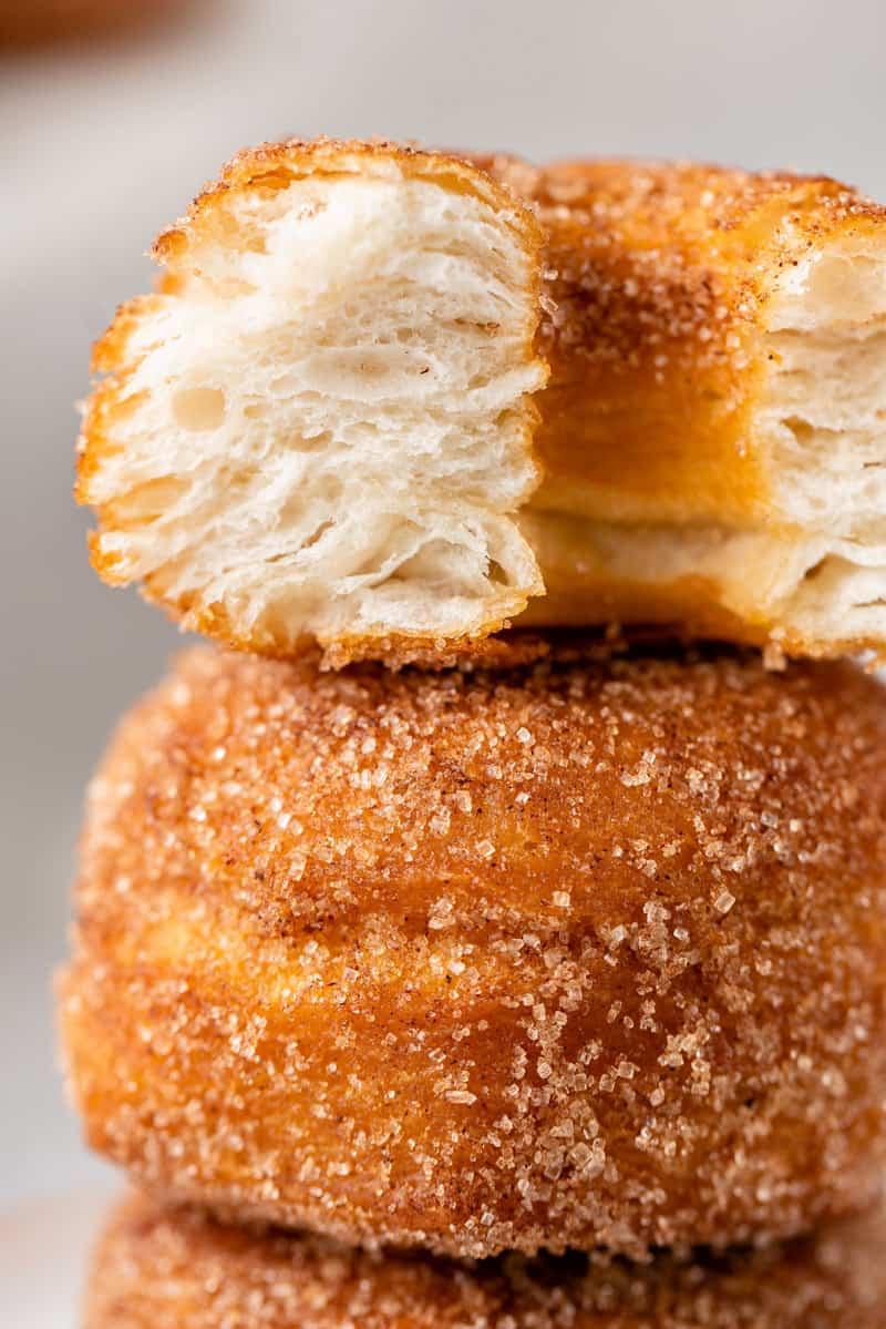macro image of cut in half biscuit donuts