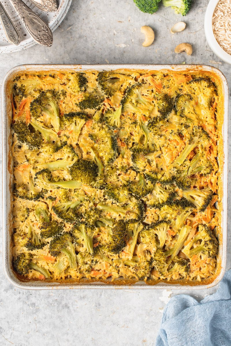 overhead image of cooked broccoli rice casserole